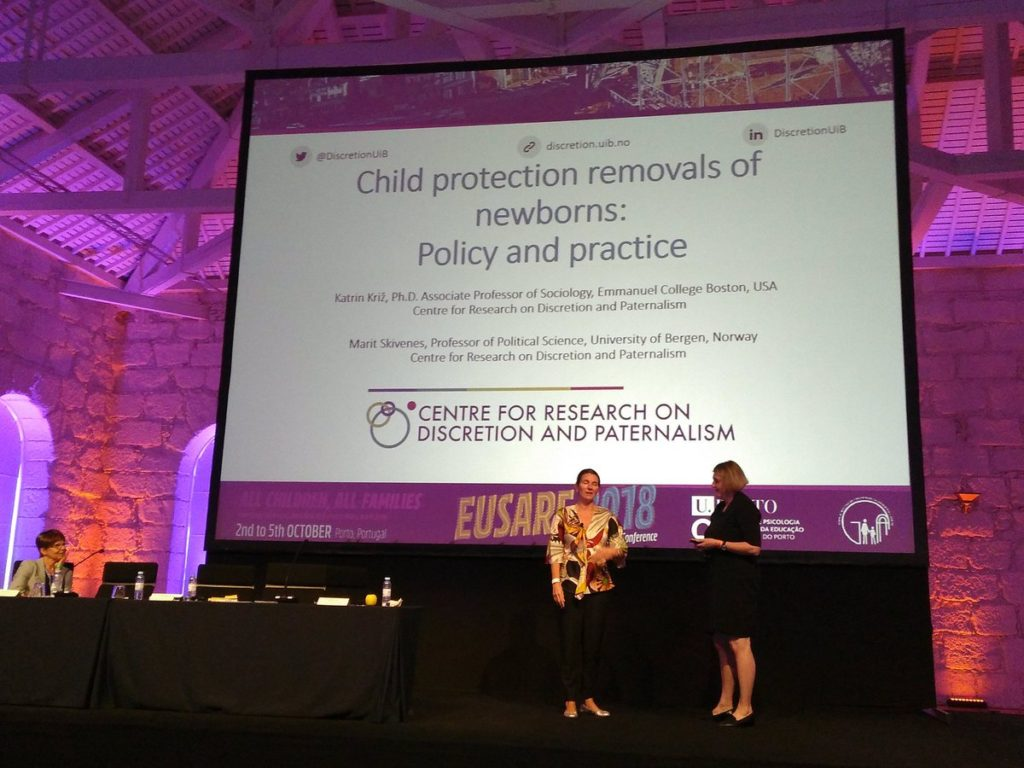 Marit Skivenes and Katrin Kriz giving a key-note at the EUSARF conference in October 2018.